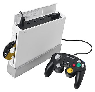Backward compatibility - The original model of the Wii video game console, which usually uses wireless controllers, is also backwardly compatible with those from Nintendo's earlier GameCube console, along with said system's games.