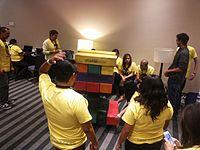 Wikimania 2015-Wednesday-Volunteers play Weasel-Jenga (17).jpg