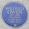 Wilfred Owen blue plaque, Elm Grove, Birkenhead (cropped).JPG