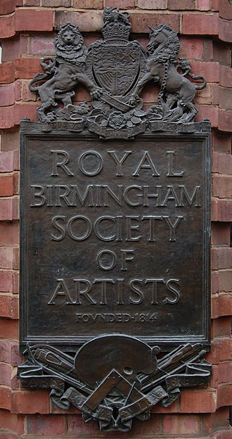 Royal Birmingham Society of Artists - One of the pair of identical plaques by William Bloye