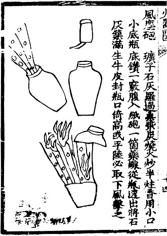 "Bomb - A ""wind-and-dust"" bomb depicted in the Ming Dynasty book Huolongjing. The pot contains a tube of gunpowder, and was thrown at invaders."