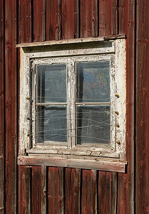 Window on an old barn in Färlev