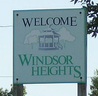 Windsor Heights welcome sign