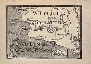 Winkie Country - Map of the Winkie Country from The Lost Princess of Oz (1917)