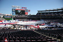 Nationals Park in hockey configuration prior to the 2015 NHL Winter Classic.  Reflective tarps covered part of the ice to protect the surface from the  sun. c57a73876