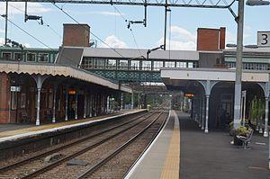 Witham railway station - Witham railway station in 2017, looking towards London