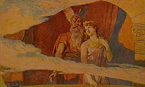 Odin - Godan and Frea look down from their window in the heavens to the Winnili women in an illustration by Emil Doepler, 1905.