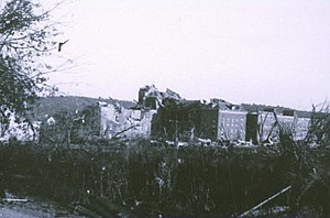 1953 Worcester tornado - Damage at Assumption College in Worcester