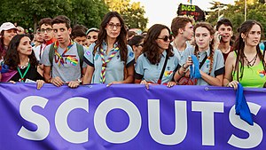 Scouting controversy and conflict - Spanish Scouts marching in Madrid for LGBT rights during the WorldPride 2017 parade.