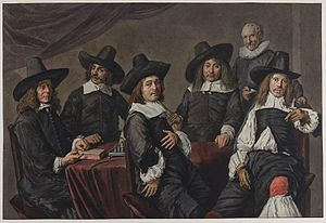 Regents of the Old Men's Almshouse - 18th-century copy by Wybrand Hendriks shows how much darker the painting has become over the centuries