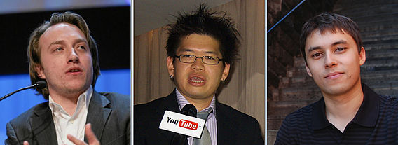 Founders of YouTube from left to right: Chad Hurley, Steve Chen, and Jawed Karim
