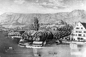 Zürichsee-Schifffahrtsgesellschaft - The first touristic Steamship gate (1835-1883) at Bauschänzli in Zürich