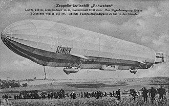 """LZ 10 Schwaben - Airship """"Schwaben"""" on a postcard."""
