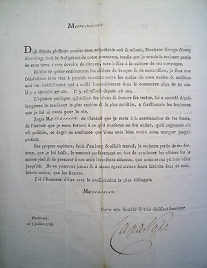 Georg Heinrich Sieveking - Round letter from 1 July 1793 with Voght's announcement that he would retire from the firm.