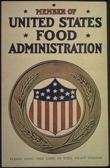 """""""Member of the United States Food Administration. Please Hang This Card In Your Front Window."""", ca. 1917 - ca. 1919 - NARA - 512510"""