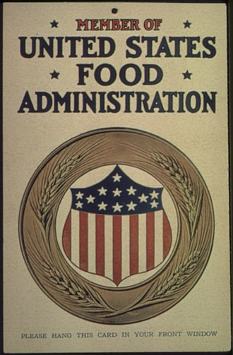 John Hallowell - Window card from United States Food Administration