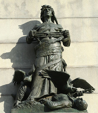 General William Tecumseh Sherman Monument - War, a sculpture group on the east side of the monument.