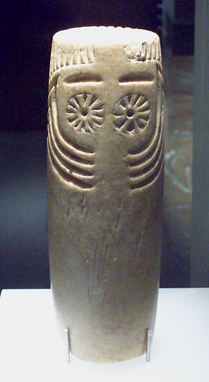 "Iberian schematic art - Eyed idol called ""of Extremadura"" (Copper Age, M.A.N., Madrid)."