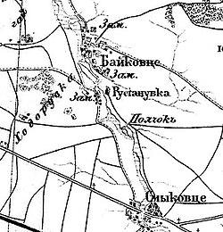Получок на військово-топографічній мапі Російскої Імперії, 1917 рік