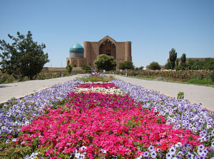 Mausoleum of Khoja Ahmed Yasawi - View of the Mausoleum of Khoja Ahmed Yasawi in Turkestan, Kazakhstan.