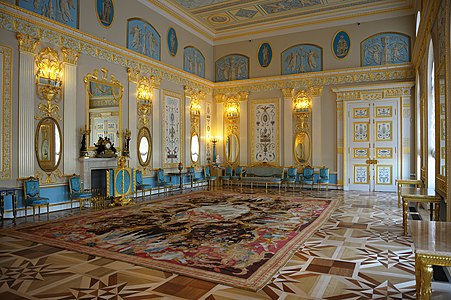 Tsarskoye Selo (Pushkin), interior of the Catherine Palace (has been put in 1717 under the direction of Johann Fridriha Braunshtejna, Bartolomeo Franchesko Rastrelli is reconstructed in 1752-1756). An Arabesque Room (Charles Kamerona's furnish), it is restored and opened in 2010.