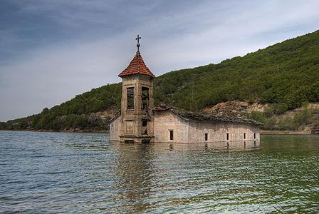 Sunken Church of St. Nicholas in Lake Mavrovo
