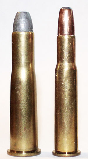 .38-56 WCF - .38-56 WCF (left) and .30-30 Winchester (right)