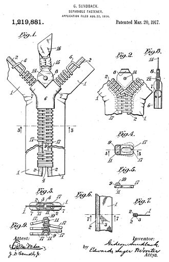 Meadville, Pennsylvania - drawing of 1914 zipper patent filling