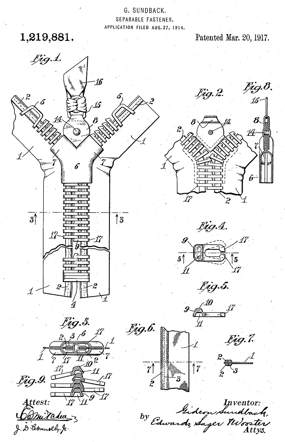 001 Sundback zipper 1917 patent