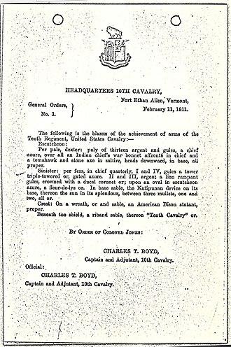10th Cavalry Regiment (United States) - 10th Regiment United States Cavalry Coat of Arms description from 1911.