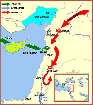 Fall of Ruad - Though they were not able to satisfactorily combine their activities, the Europeans (green arrows) and Mongols (red arrows) did attempt to coordinate an offensive near Tortosa and the Isle of Ruad
