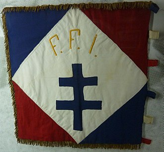 French Forces of the Interior - The Cross of Lorraine on the flag of the 2nd company, 1st battalion, FFI Finistere. It was founded by a group of French Scouts who joined the French Resistance in June 1940. The group carried out intelligence missions and the repatriations of allied airmen. In February 1944 it became part of the FFI and participated in the liberation of Quimper on August 8, 1944.