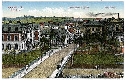 15520-Meerane-1913-Crimmitzschauer Straße, Webschule, Bürgerschule-Brück & Sohn Kunstverlag