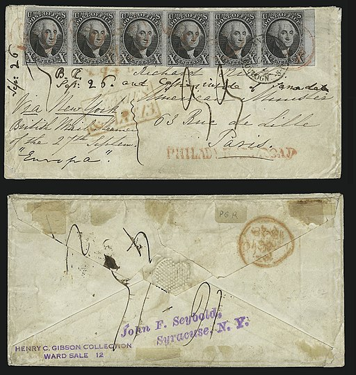 """1847 """"Rush cover"""" US 10¢ strip of 6 stamps"""