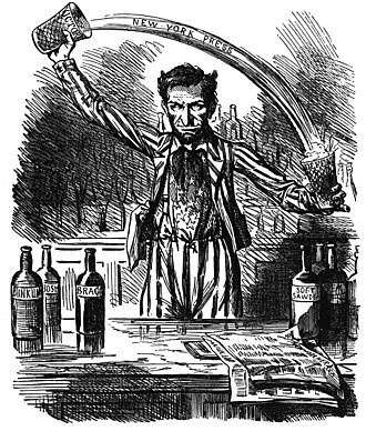 History of American newspapers - Lincoln spins the news—a Copperhead cartoon from 1862 (note the horns)