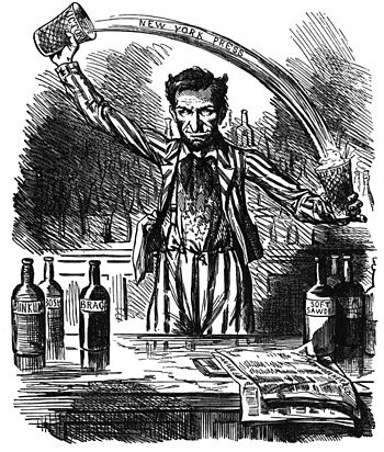 Spins the news—a copperhead cartoon from 1862 note the horns