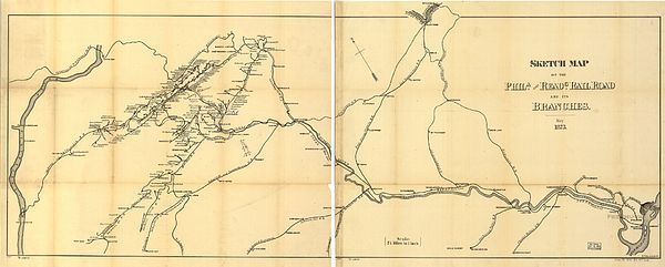 Philadelphia and Reading Rail Road route map (1873) 1873 Reading.jpg