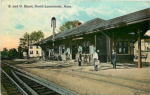Leominster, Massachusetts - North Leominster train depot in 1915