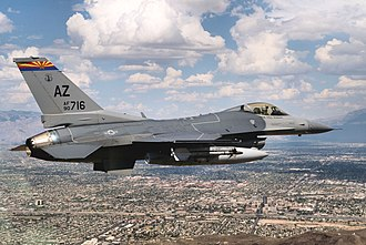 195th Fighter Squadron - 195th Fighter Squadron General Dynamics F-16C Block 42H Fighting Falcon 90-0716 flies over Tucson, Arizona