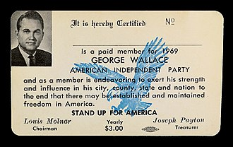 American Independent Party - 1969 AIP party card, showing annual dues of $3.00 for the organization.
