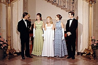 Anne, Princess Royal - Anne and Charles at the White House with Tricia Nixon and Julie and David Eisenhower in 1970