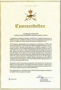 Copy of the Commendation from the Chief of the General Staff presented to the Australian contingent