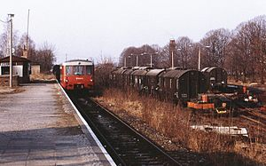 "Mahlow station - Ferkeltaxe (""piglet taxi"") at the station, 1991"