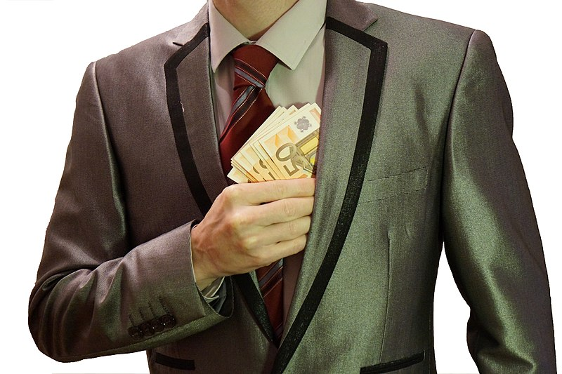 File:1 - corruption - man in suit - white background - euro banknotes hidden into left jacket pocket - royalty free, without copyright, public domain photo image.JPG