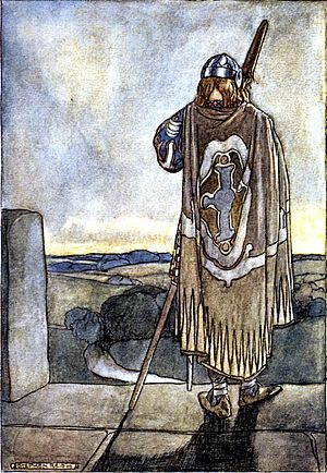 "Fionn mac Cumhaill - ""Finn heard far off the first notes of the fairy harp"", illustration by Stephen Reid in T. W. Rolleston's The High Deeds of Finn (1910)"