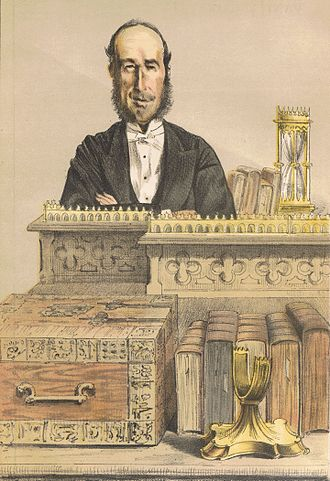 Baron Monk Bretton - Detail of lithographic reproduction, after James Tissot, published in Vanity Fair, 16 December 1871, showing J. G. Dodson, MP, at his post in the House of Commons, Chairman of Ways and Means, 1865-72.