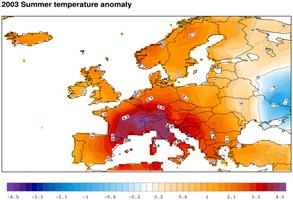 Temperaturanomalie Sommer 2003 zu 1971–2000