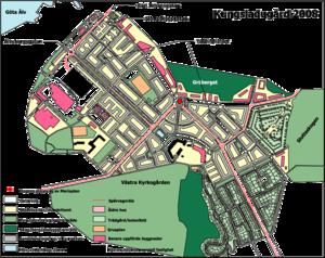 Venstre:   Lilienbergs plan for Kungsladugård, 1916.   Højre:   Kungsladugård, 2008.
