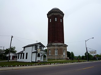 Manistique, Michigan - The Historic Manistique Water Tower and Schoolcraft County Museum.