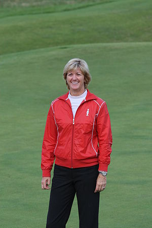 Beth Daniel - Daniel posing in the U.S. Solheim Cup team uniform after the 2009 team was announced at Royal Lytham & St Annes, August 2, 2009.